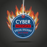 Round Price Sticker Cyber Monday Fire. Price label with text cyber monday and fire on the dark background Stock Image