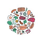 Round print with hand drawn food. Vector illustration background. Design for kitchen decor royalty free stock photos