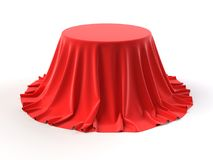 Round pudełko zakrywający z czerwoną tkaniną royalty ilustracja