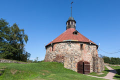 Round (Pugachev) tower. Korela. Priosersk. Russia. Stock Photos