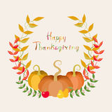Round Pumpkins And Leaves Thanksgiving Card Stock Photo