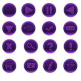 Round Purple Web Buttons. Series of digitally created shiny purple web buttons with icons and a blank one Royalty Free Stock Images