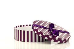 Round purple and white gift box Royalty Free Stock Photo