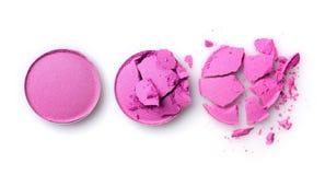Round purpury rozbijali eyeshadow dla makeup jak próbka kosmetyczny produkt Zdjęcia Royalty Free