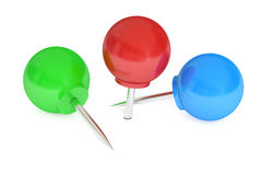Round push pins, 3D rendering Royalty Free Stock Image