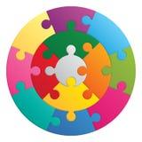 Round puzzle - 13 parts. Round puzzle. 13 color parts Stock Images