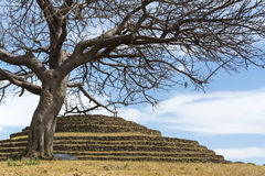 Round Pyramid Guachimontones. Ceremonial center and ancient pre-Hispanic establishment located in the city and municipality of Teuchitlán stock image