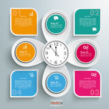 4 Round Quadrates 4 Location Markers Clock Centre. Infographic with clock, circles and quadrates on the gray background royalty free illustration