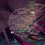 Round Quote Text Bubble with Marks on a Dark Abstract Background. Commas - Note - Message - Comment. Creative Template for Your Design. Vector Illustration Stock Photography