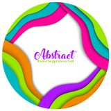 Round rainbow 3D abstract papercut shapes on white background. Trendy colors, wave, rainbow, frame, paper, cut, ring, circle. Vect. Or eps10 illustration Royalty Free Stock Image