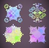 Round rainbow gradient vector mandalas. Floral mandala zentangle art. stock illustration