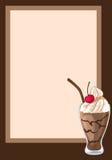 Round rama dekorował z czekoladowym milkshake z wiśnią Zdjęcia Stock