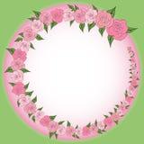 Round rama dekorował z wiankiem od stopniowo zmniejszać, wzrastające róże z liśćmi, poślubia Obraz Stock