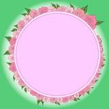 Round rama dekorował z wiankiem od stopniowo zmniejszać, wzrastające róże z liśćmi, poślubia Zdjęcia Royalty Free
