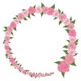 Round rama dekorował z wiankiem od stopniowo zmniejszać, wzrastające róże z liśćmi, poślubia Fotografia Stock