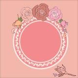 Round rama dla teksta obramiającego różami Fotografia Stock