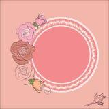Round rama dla teksta obramiającego różami Zdjęcie Royalty Free