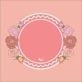 Round rama dla teksta obramiającego różami Fotografia Royalty Free