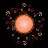 Round rama dla teksta z eleganckim abstrakcjonistycznym kwiecistym motywem ilustracji