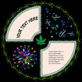 Round rama dla teksta z marihuana drutem kolczastym i liśćmi royalty ilustracja