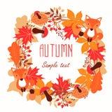 Round rama jesień liście Jesień, liście, wianek royalty ilustracja