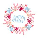 Round rama kwiaty z królikiem tło barwiący Easter jajek eps8 formata czerwony tulipanu wektor royalty ilustracja