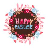 Round rama kwiaty z kr?likiem Wielkanocny tło z Easter jajkami, królik, kwitnie ilustracja wektor
