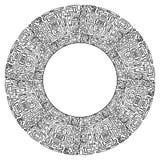 Round rama z czarny i biały plemiennym doodle wzorem od geometrycznych kształtów ilustracja wektor