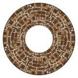 Round rama z plemiennym doodle wzorem od geometrycznych kształtów Fotografia Stock