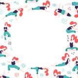 Round rama z r?ki rysowa? koloru doodle kobietami w joga pozach Bia?a dree przestrze? dla teksta ?e?scy ludzie robi aktywno?? i s ilustracji