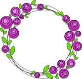 Round rama z stylizowanymi różowymi kwiatami, wektor ilustracji