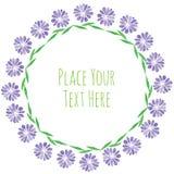 Round ramowa purpura kwitnie girlandę Zdjęcia Stock