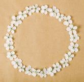 Round ramowy wianek robić biała wiosna kwitnie na brown papieru tle Odgórny widok Fotografia Royalty Free