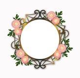 Round ranunculus kwitnie dekoracji ramę royalty ilustracja
