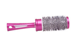 Round raspberry hair brush isolated on white Royalty Free Stock Images