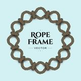 Round rope frame. Round realistic rope frame with knots and loops. Vector image Royalty Free Illustration