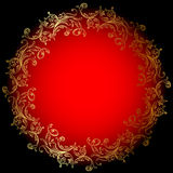 Round red background with gold ornament Stock Photos