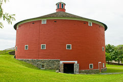 Round red barn. Used as a museum at Shelbourne, Vermont Stock Images