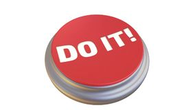 Button with the word `DO IT!` in action. Round red button with the word `DO IT!` after pressing becomes green. Footage video vector illustration