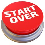 Button with the word `START OVER`. Round red button with the word START OVER. Isolated. 3D Illustration Royalty Free Stock Photo