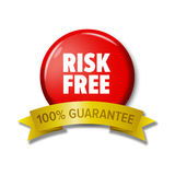 Round red button with words `Risk Free - 100% Guarantee`. Round red button and golden ribbon with words `Risk Free - 100% Guarantee`. Bright label for online Stock Image