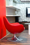 Round red chair in the living room Stock Photography