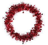 Round red Christmas or festive frame, tinsel Royalty Free Stock Photos