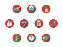 Round red Christmas and New Year icons set. Collection of red round flat color New Years and Christmas icons. Xmas party elements and decor, winter holidays and Royalty Free Stock Image