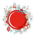 Round red frame with Christmas decor Royalty Free Stock Photos