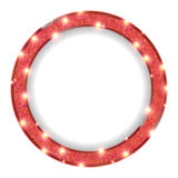 Round red frame with lights on a light background. Vector illustration Stock Photo