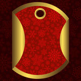 Round red and gold banner with snowflakes Stock Photography
