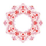 Round red love ornament with hearts Stock Photography