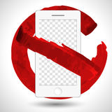 Round red no mobile phone icon vector isolated. No cell phones symbol with transparent screen for your image Royalty Free Stock Photography