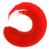 Round red painting brush stroke on white Royalty Free Stock Image